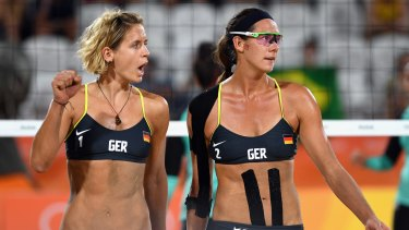 Laura Ludwig, left, and Kira Walkenhorst of Germany won the match against Egypt.
