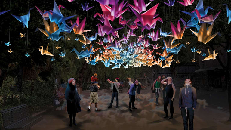 Artist's impression of Vivid 2018 light exhibit, 1000 Cranes.