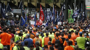 Thousands of people joined the CFMEU protest.