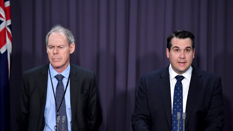 Commissioner of the Australian Charities and Not-for-profits Commission Dr Gary Johns and Assistant Minister to the Treasurer Michael Sukkar at a press conference at Parliament House.