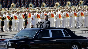 Chinese President Xi Jinping reviews the army during a military parade in China.