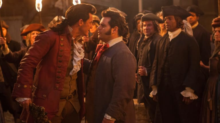 Controversy: Luke Evans as Gaston, left, with Josh Gad as LeFou in <i>Beauty and the Beast</i>.