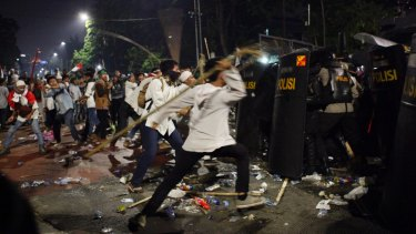 Friday night's clashes with police at the rally protesting against Ahok in Jakarta.