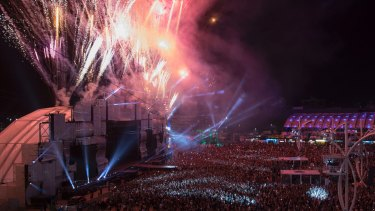 Fireworks explode over the main stage before the start of the the Rock in Rio music festival which running from Sept 17 to 24.