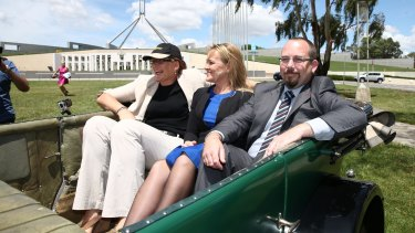 Labor Senator Kate Lundy, Liberal MP Fiona Scott and Senator Ricky Muir launch the Parliamentary Friends of Motoring in December 2014.