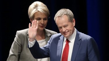 Opposition Leader Bill Shorten, pictured with his deputy Tanya Plibersek, has set a goal of having women make up half of Labor MPs within 10 years.