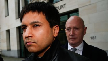 Navinder Singh Sarao, a British trader charged over his role in the 2010 US flash crash, left, leaves court on Wednesday.
