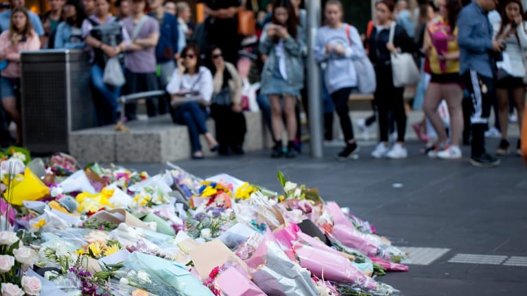 Part of Bourke Street Mall has become a shrine to victims of Friday's tragedy.