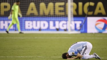Oh, the anguish: Lionel Messi reacts after Argentina lost on penalties.
