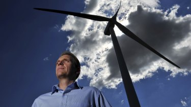 ACT Environment Minister Simon Corbell at the Acciona wind farm at Gunning. He has announced a second wind auction would be held this year.