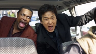 Jackie Chan, with Chris Tucker, in one of his most famous Hollywood roles in the <i>Rush Hour</i> franchise.