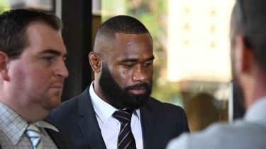 NRL winger Semi Radradra arrives at Parramatta Local Court.