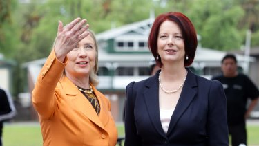 Hillary Clinton and Julia Gillard in Melbourne in 2010.