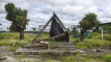The now-abandoned crematorium where bodies were burned during the Ebola crisis in Marshall, Liberia.
