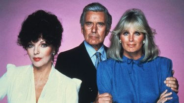 Original Dynasty cast members (from left) Joan Collins, John Forsythe and Linda Evans.