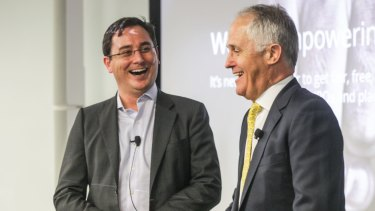 Prime Minister Malcolm Turnbull with chief executive of OnMarket Ben Bucknell.