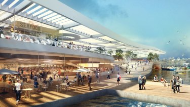 An artist's impression of the  Danish-designed building that will house the new Sydney Fish Market.