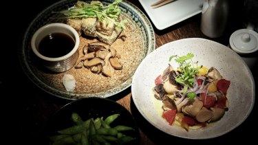 The agadashi tofu and mushroom ceviche at Sake.