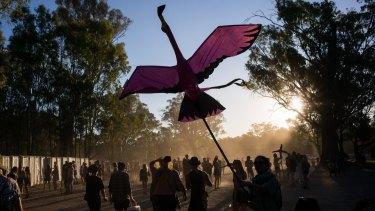Is it a bird? Is it a plane. It's Strawberry Fields festival.