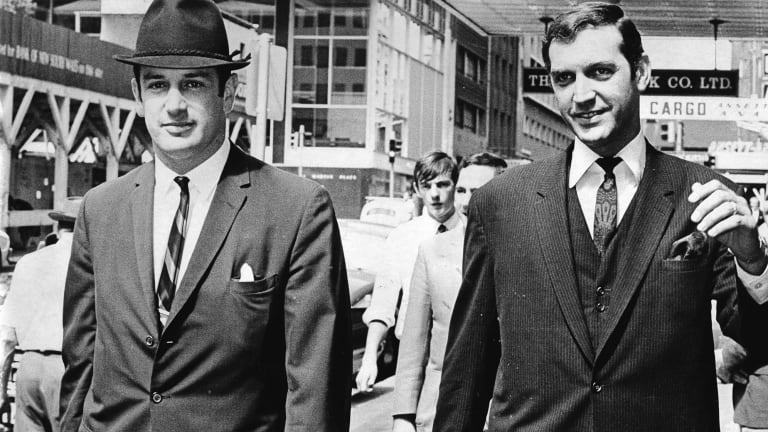 Entertainer Don Lane, right, arrives at court with barrister Marcus Einfeld on March 29, 1968.
