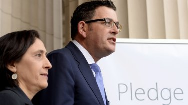 Victorian  Premier Daniel Andrews and Minister Lily D'Ambrosio promise net zero emissons by 2050.