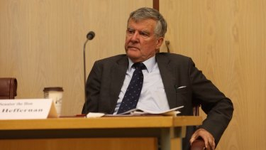 Senator Bill Heffernan during an earlier Senate estimates hearing.