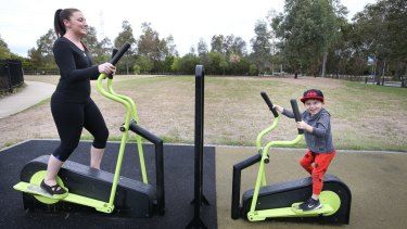 Glenmore Park resident Jessica Lowe exercises in the local park.