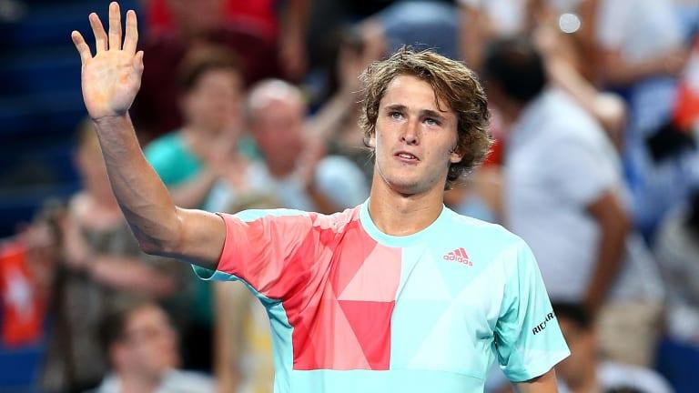 Alexander Zverev celebrates his win against Roger Federer on Wednesday night.