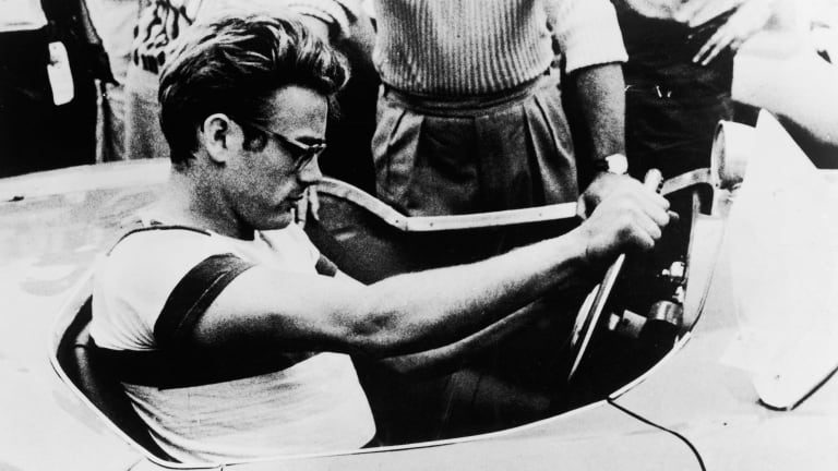 James Dean, pictured in this Warner Brothers still from the documentary movie The James Dean Story, was killed when another driver turned in front of him.