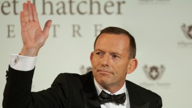 Tony Abbott gestures at Margaret Thatcher Centre Gala dinner in London on Tuesday.
