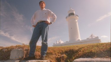 A younger Mr Lesser, pictured at the Macquarie lighthouse, lost his father to suicide when he was 20 years old.