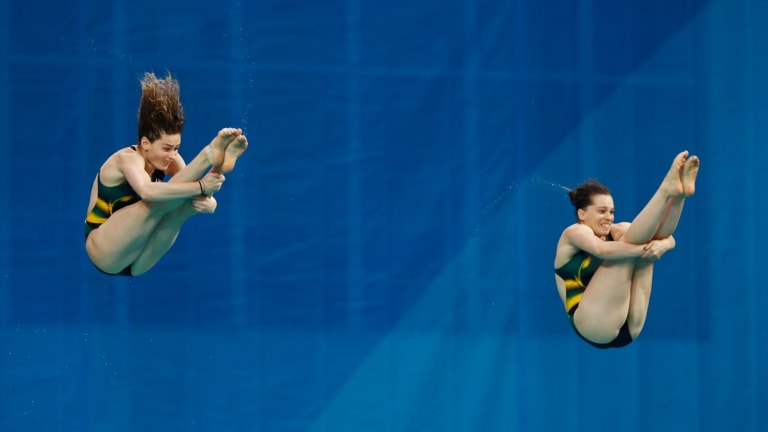 Maddison Keeney and Anabelle Smith of Australia compete in the synchronised diving 3m springboard final in Rio on Sunday.
