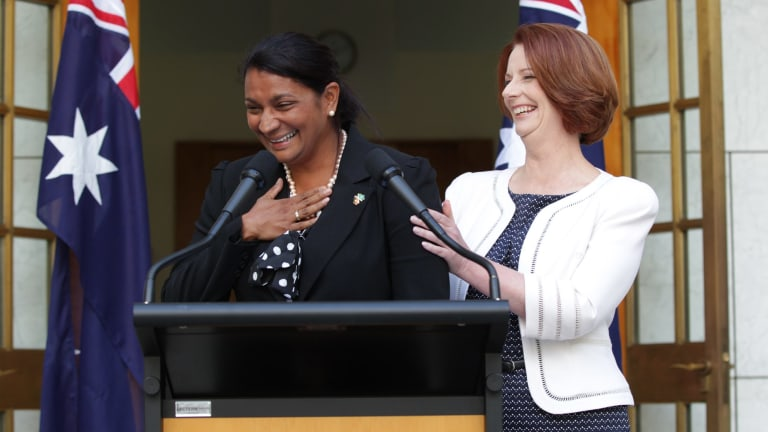Prime Minister Julia Gillard and Nova Peris speak to the media during a press conference at Parliament House in Canberra on Tuesday 22 January 2013.