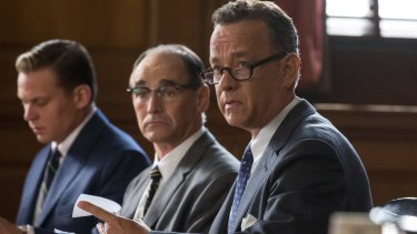 Billy Magnussen, Mark Rylance and Tom Hanks in <i>Bridge of Spies</i>.