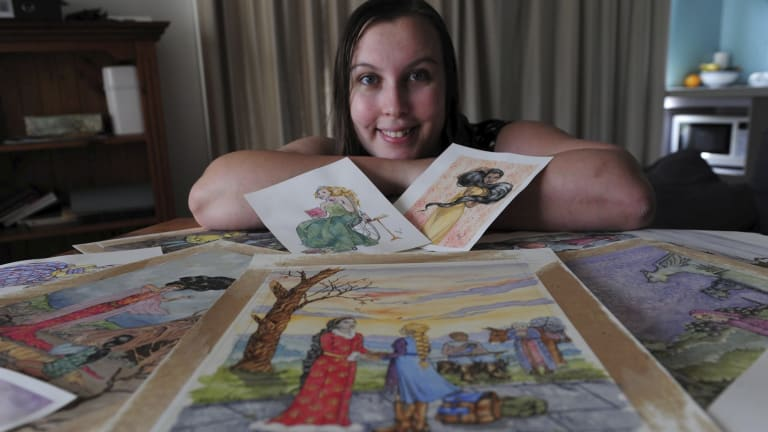 Canberra illustrator Erin-Claire Barrow with characters from her feminist fairytales.