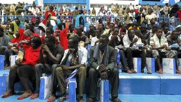 Rescued Garissa University students wait to meet their relatives after arriving at Nyayo stadium in Kenya's capital Nairobi.