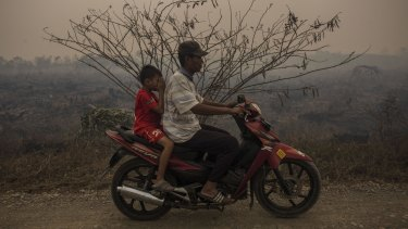 Choking haze in Palembang, Indonesia, on the weekend.