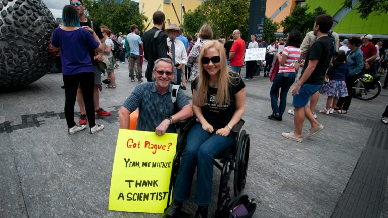 Professor Paul Young (left) and Lisa Cox (right) at the March for Science.
