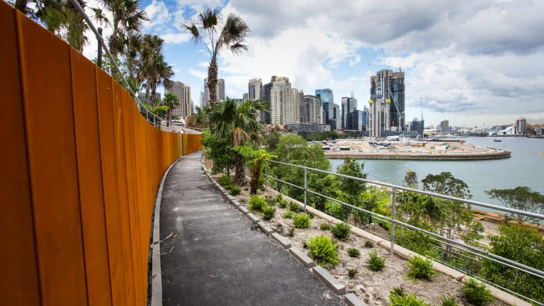 The view from one of the walkways at Barangaroo Point