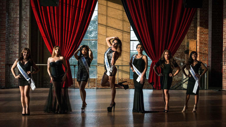Miss Gay and Miss Transsexual Australia contestants (from left) Dee, J.O, Kristina, Honey, Talissa, Gayzha and Barbie who will compete in the pageant on January 30.