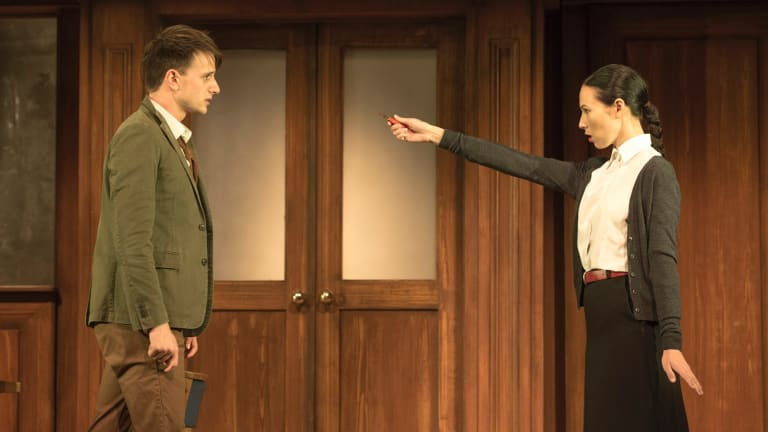 Tom Conroy and Ursula Mills in the upcoming STC production of Icke and Macmillan's '1984'.
