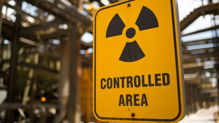 A radiation-controlled area warning sign at the Ranger Uranium Mine in the Northern Territory.