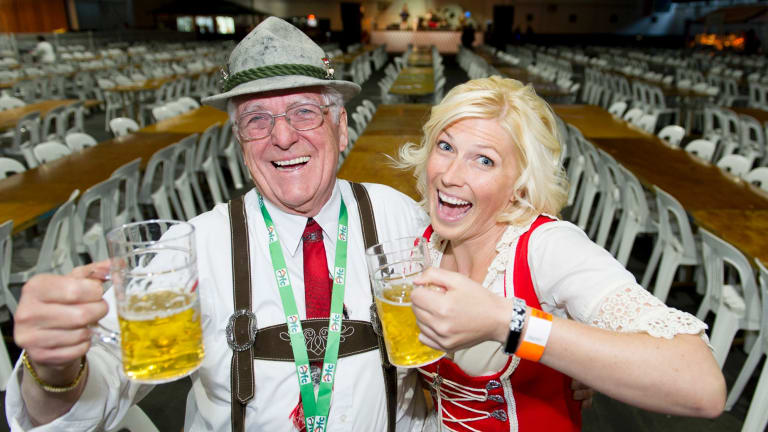 Dr Gunther Brandstetter and Liz Neunsinger getting into the spirit of Oktoberfest in Canberra.
