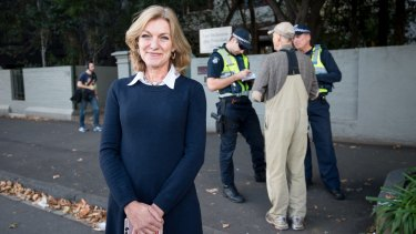 Leader of the Austrlaian Sex Party Fiona Patten outside the Fertility Control Clinic in East Melbourne on Monday.