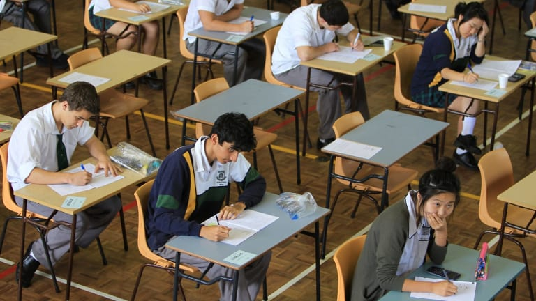 Students from Killara High School sit for their first HSC exam this week.