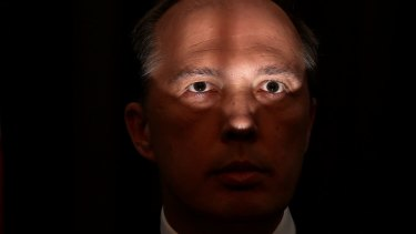 The image of Immigration Minister Peter Dutton.