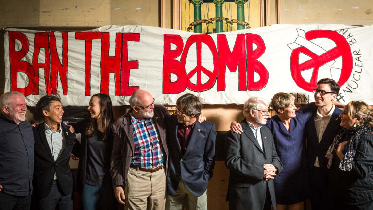 Members of the International Campaign to Abolish Nuclear Weapons in Melbourne on Saturday.