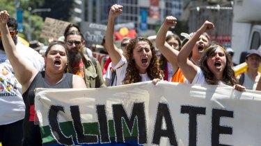 Demonstrators protest in the Brisbane CBD.