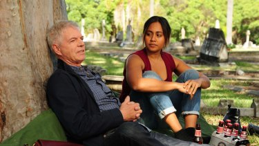 Colin Friels and Jessica Mauboy on the set of <em>The Secret Daughter</em>.