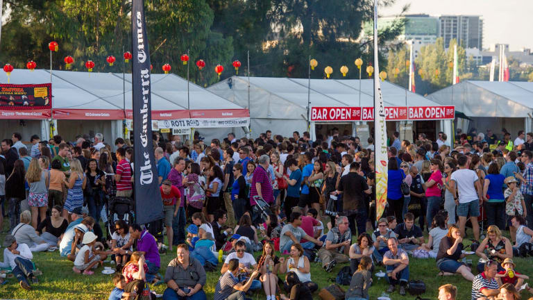 The large crowds at the Enlighten Night Noodle Market.